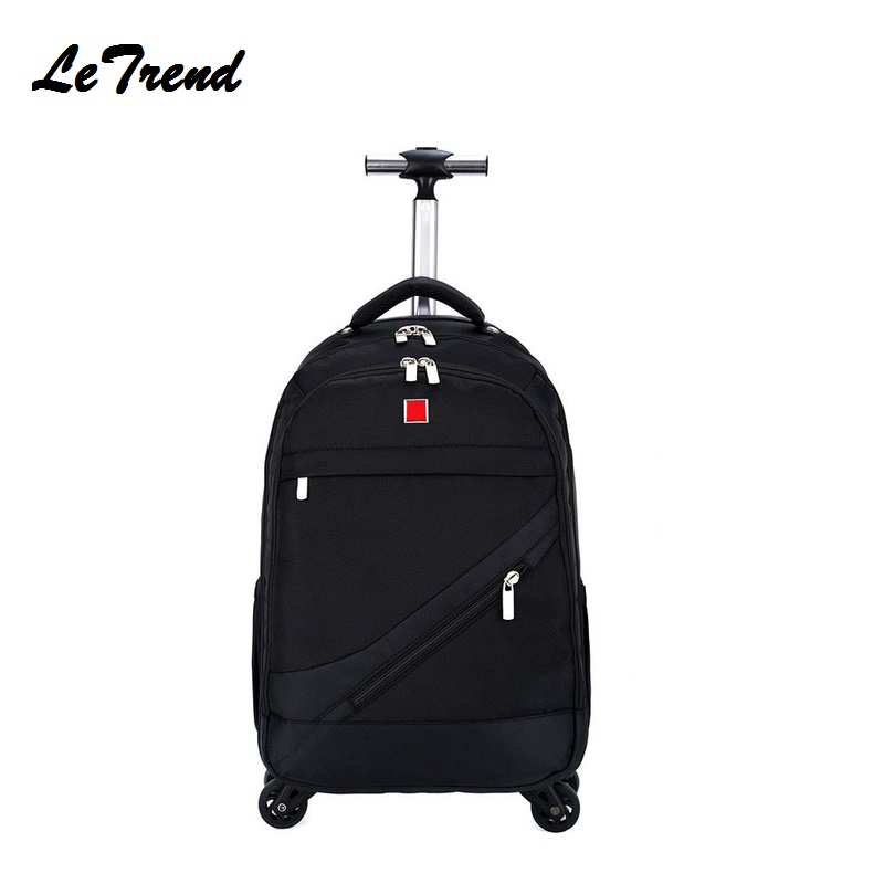 New Business Rolling Luggage Spinner Backpack Shoulder Travel Bag Casters Trolley Carry On Wheels School Bag цена