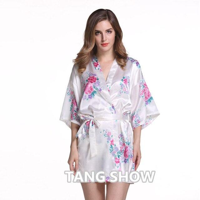 White Plus Size Chinese Women's Satin Nightgown Short Robe Gown New Style Kimono Bathrobe Sexy Floral Night Dress Sleepwear