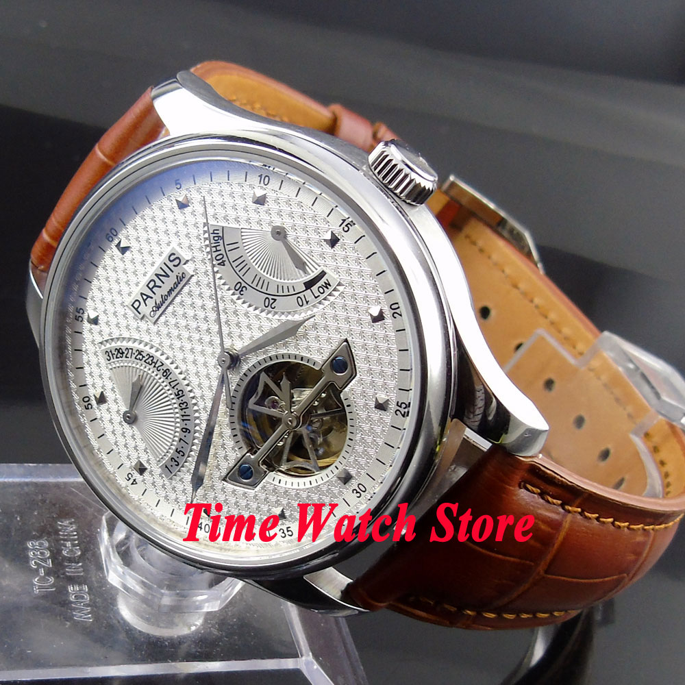 Parnis new 43mm power reserve White dial date brown strap Automatic movement Men s watch 412
