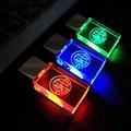 New Crystal Transparente Pen drive 16 GB para Alfa Romeo Logotipo Do Carro USB 8 GB 16 GB 32 GB Flash USB 2.0 Drive de Memória da Vara da Pena/DIODO EMISSOR de Luz