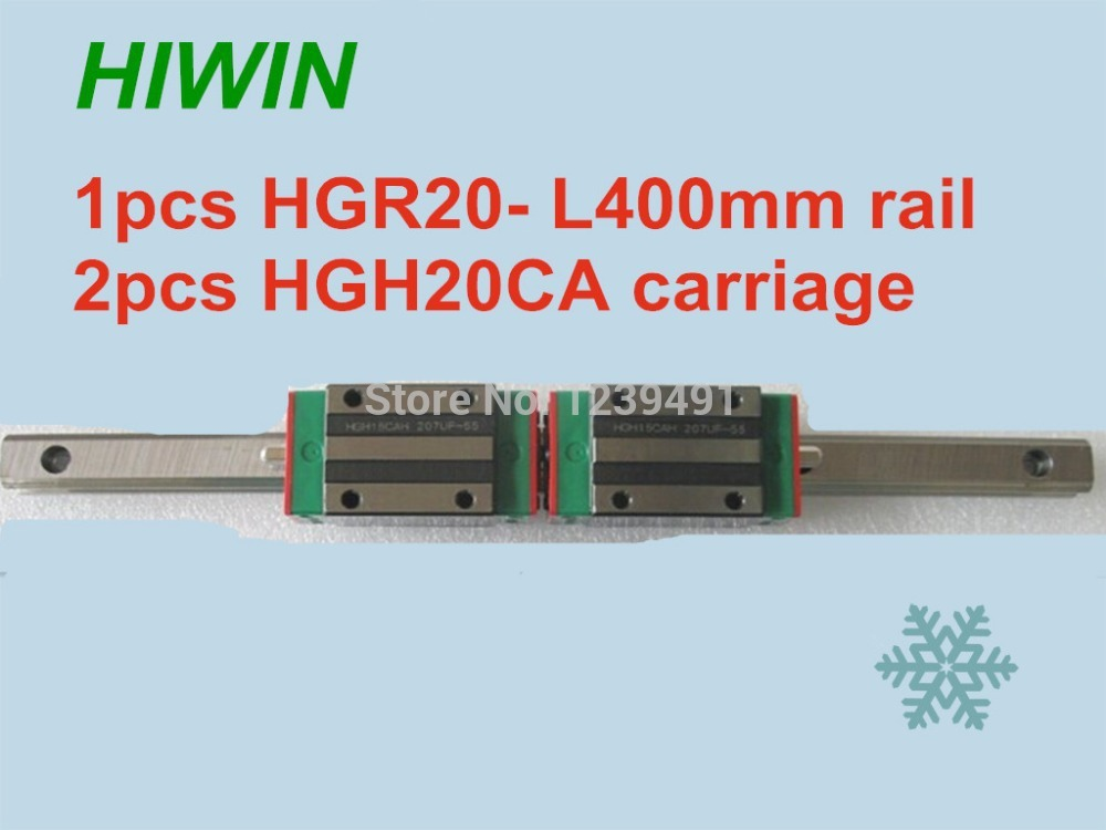 1pcs HIWIN linear guide HGR20 -L400mm with 2pcs linear carriage HGH20CA CNC parts