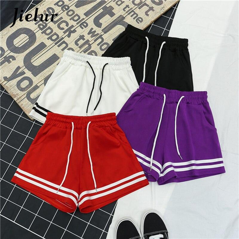 Jielur 4 Colors Stripe Leisure   Shorts   for Women Summer Comfortable Black   Short   Feminino S-XXL Young Slim High Waist   Shorts   White