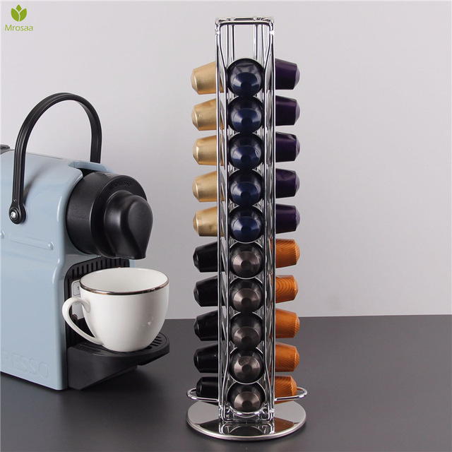 40 Cups Nespresso Coffee Pods Holder Rotating Rack Coffee Capsule Stand Dolce Gusto Capsules Storage Shelve Organization Holder 2