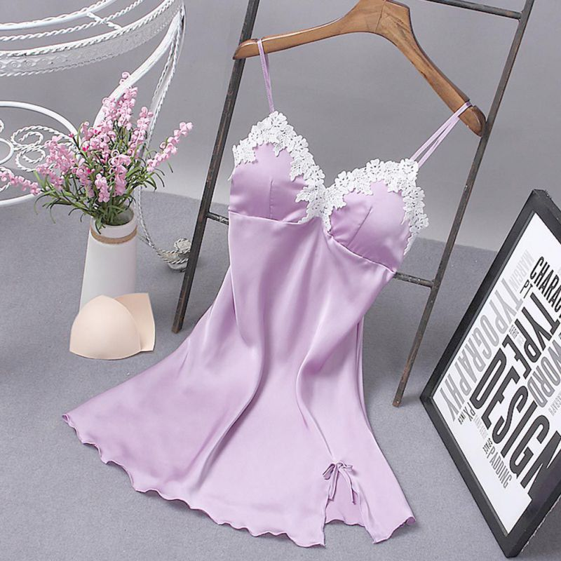 Women Ladies Sexy Nightdress Silk V-neck Floral Sleepwear Lingerie Babydoll   Nightgown   Sleeveless   Sleepshirt   With Padded Bra W1