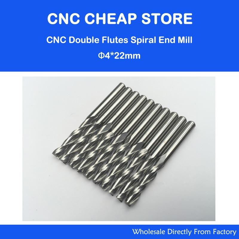 10x du fleitos spiralinis pjaustytuvas 4x22mm CNC maršrutizatoriaus antgaliai