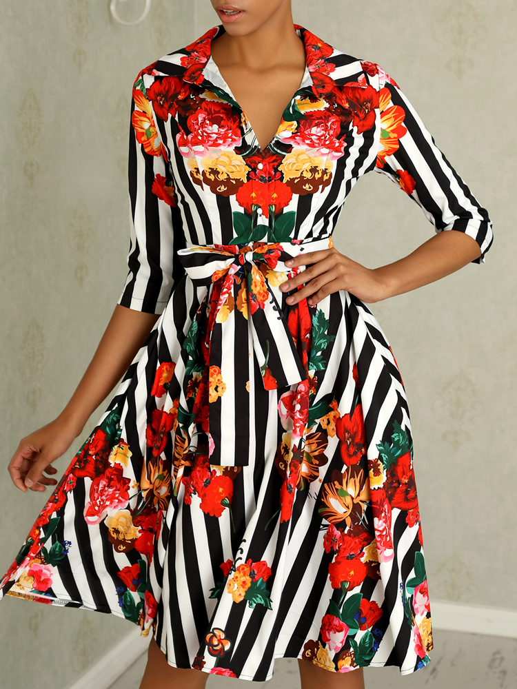 2019 Women Summer Elegant OL Workwear Formal Gown Midi Party Dress Stylish Floral amp Striped Print Half Sleeve Shirt Dress in Dresses from Women 39 s Clothing