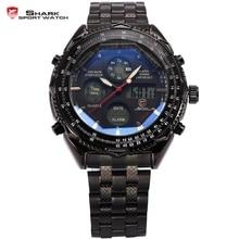 Eightgill shark sport montre numérique lcd analogique en acier inoxydable band date jour chronographe noir hommes militaire quartz montres/sh116