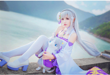 Anime Re:Life in a different world from zero Emilia Cosplay Costume Women Cos Dress+Headdress+Ear+Socks