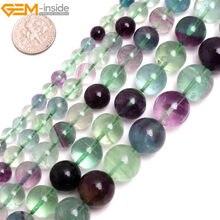 269e220326aa Gema-Dentro 2-18mm Piedra Natural granos redondos coloridos fluorita perlas  para joyería hacer perlas collar 15   DIY pulsera
