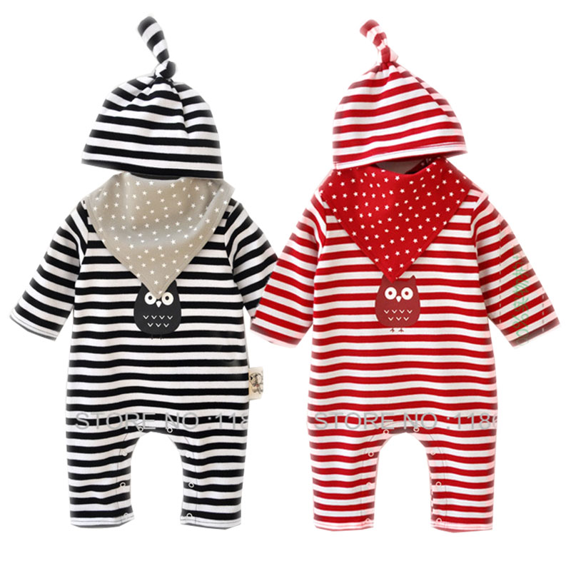 Baby Rompers Set 3pcs New Born Baby Clothes Suit Hat Bib Romper Infant Boys Girls Stripe