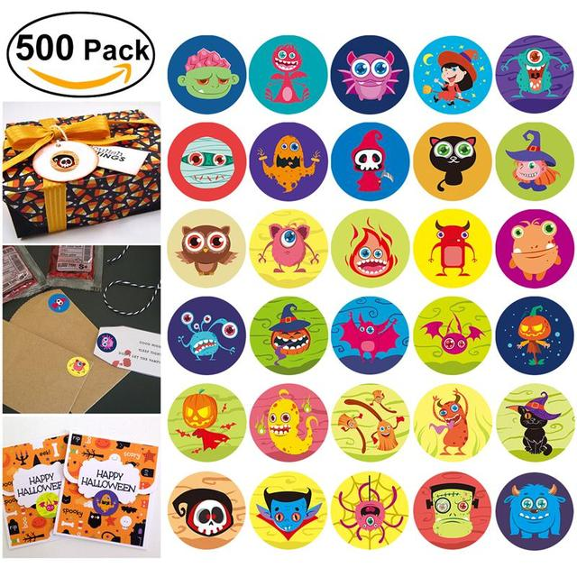Nicexmas 500pcs halloween round colorful assorted spooky stickers party decor 5 rolls