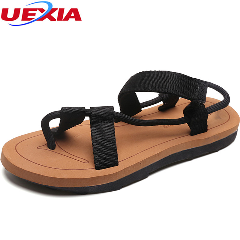 UEXIA 2018 Mens Sandals Peep Toe Summer Outdoor Flats Sandals for Man Beach Shoes Anti-skid Fashion Footwear Fisherman Slippers