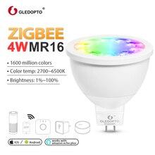 цена на GLEDOPTO ZIGBEE LED MR16 4W RGB+CCT spotlight ww/cw 2700-6500k DC12V warm white work with zigbeeZLL 3.0 gateway Amazon echo plus