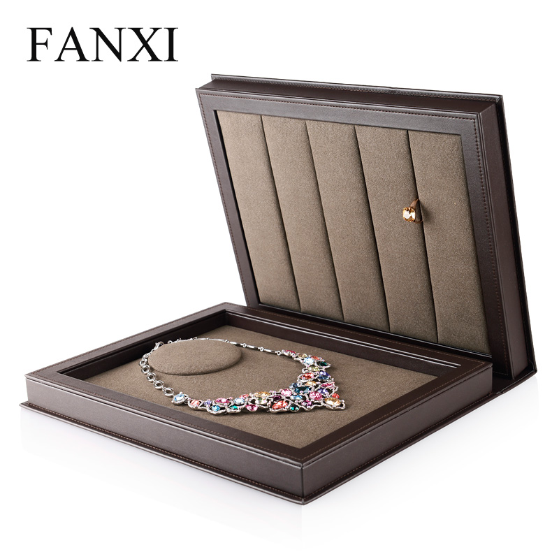 FANXI Dark coffee Color Jewelry box multifunctional for Necklace Rings Bangle Organizer Jewelry Display Holder Jewelry Props
