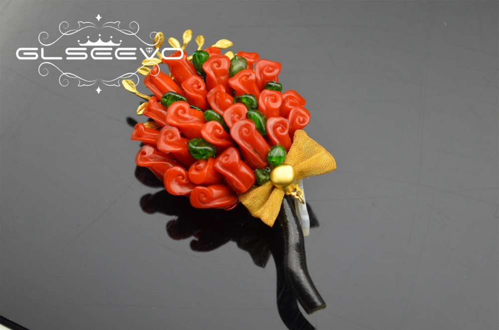 GLSEEVO Natural Bamboo Coral Rose Flower Brooch Pins Peridot Brooches For Women Dual Use Designer Luxury Fine Jewelry GO0256