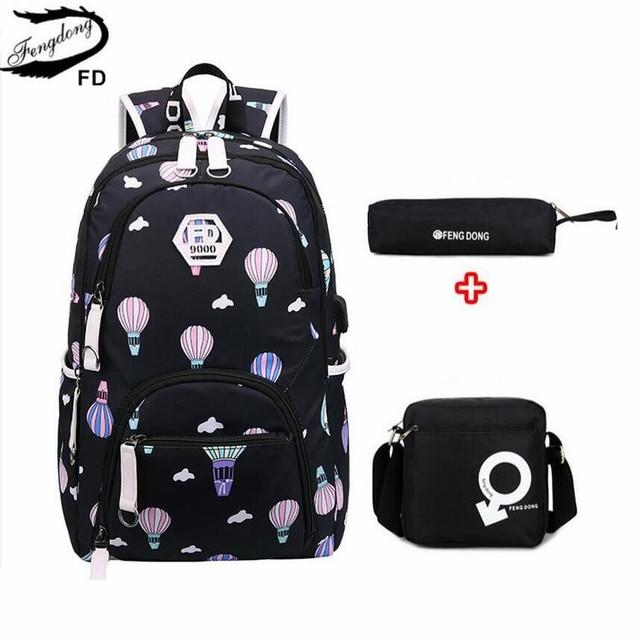 a4428bca6c FengDong 3 pcs kids waterproof school backpack school bags for girls women  shoulder bag pack bookbag