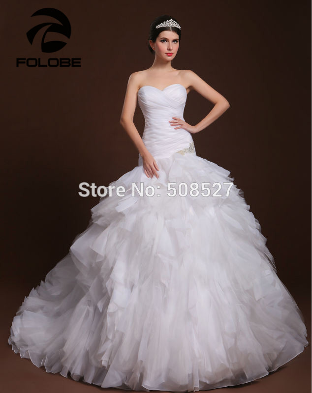 Vestidos De Novia Custom Made Sweetheart Organza Pleated Beading Ruffles Mermaid Wedding Dresses Robe De Mariage Bridal Gowns