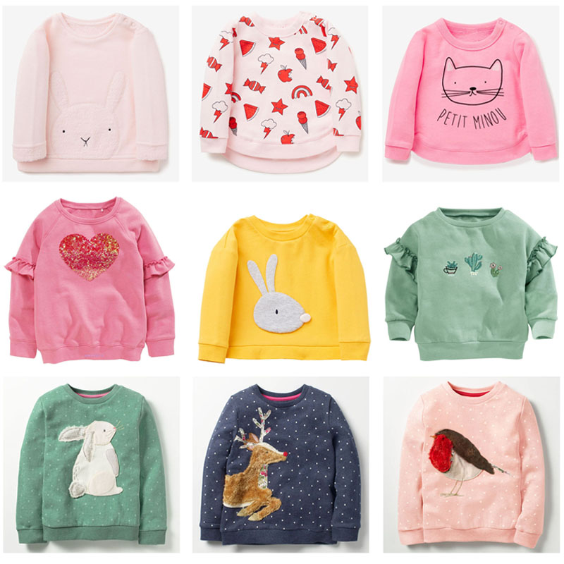 New 2018 Brand Quality 100% Terry Cotton Sweatshirts Baby Girl Clothes Children Clothing t shirts Bebe Girls Hoodies Kids Blouse high quality shirts for princess girl lace blouse 2018 girl cotton school sweatshirts blouse shirts blusas children clothing a96