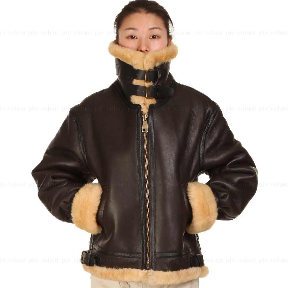 B3 ムートン革ジャケット毛皮のパイロット世界 II フライング航空軍事米国力最も暖かいコート男性女性