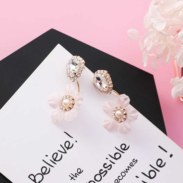 Korean Waterdrop Shape Shiny Zircon Crystal Stud Earrings Sweet Cue Fabric Cloth Lace Flower Earring for Women Wedding Jewelry