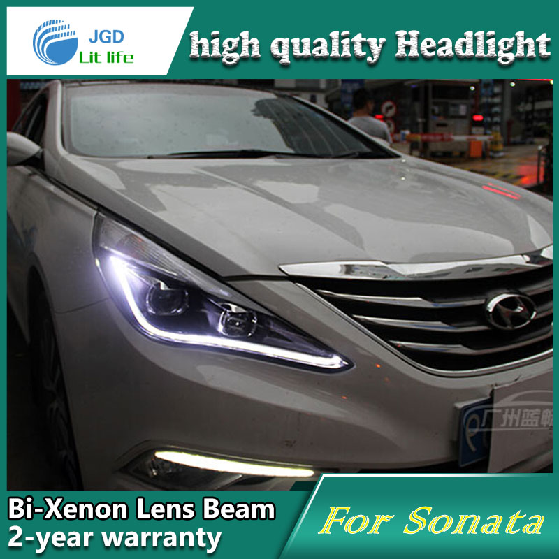 Car Styling Head Lamp case for Hyundai Sonata 2011-2014 Headlights LED Headlight DRL Lens Double Beam Bi-Xenon HID Accessories new headlight headlamp left right for hyundai sonata 8 head led light bar drl 2011 2015 h7 bi xenon