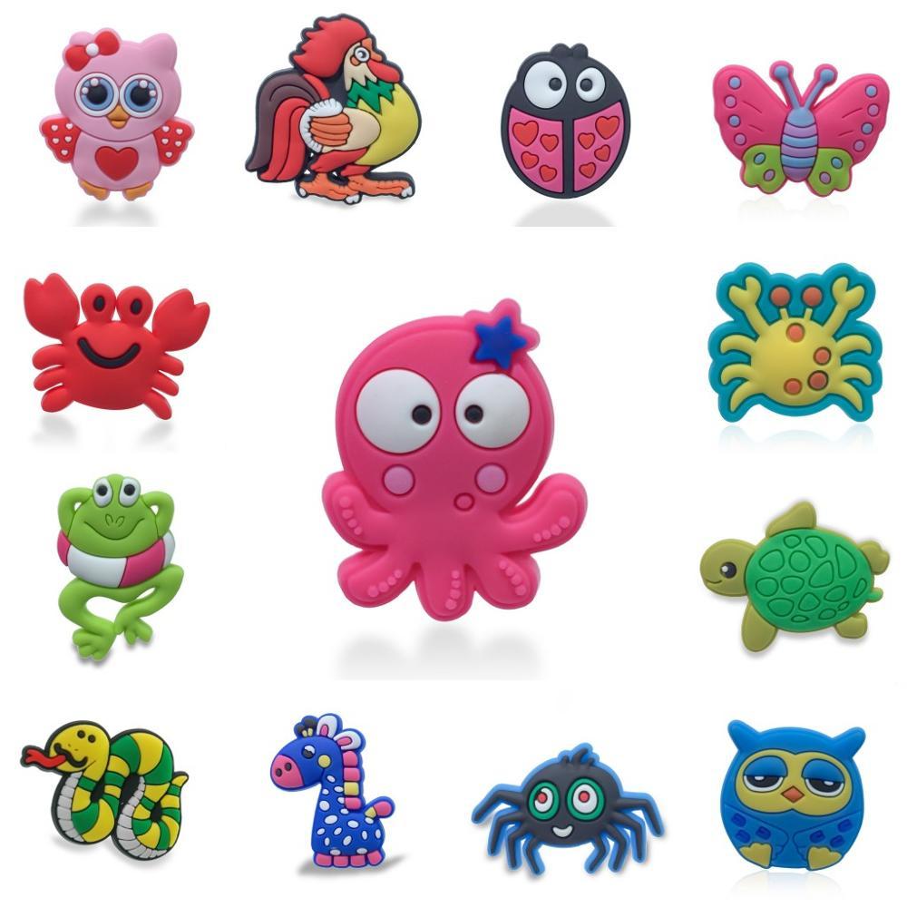 Image 2 - 100pcs/lot Cute Animals PVC Shoe Charms Panda Fishes Shoe Accessories Buckles Croc Decoration Jibz for Boys Girls Kids GiftShoe Decorations   -