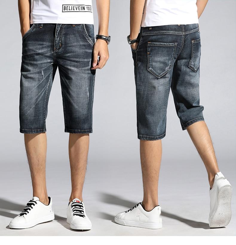KSTUN Summer Shorts Jeans Men Denim Pants Black Blue Fashion Design Men's Jeans Slim Fit Stretchy Good Quality Male Jeans Hombre 15