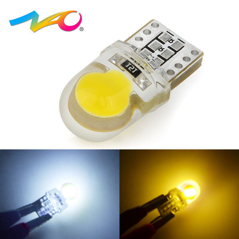 NAO 1x T10 LED W5W led Bulb Car DRL 12V Auto Interior Lights Trunk Light Turn Side Lamp COB 194 168 Reading 6000K White Yellow 20w 2000lm 6000k cob led white light module silver yellow 32 36v