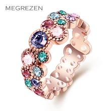 MEGREZEN Rose Gold Ring Vintage Ornaments Charms Engagement Rings For Women Or Rose Bague Aneis Feminino Grandes AKR044(China)