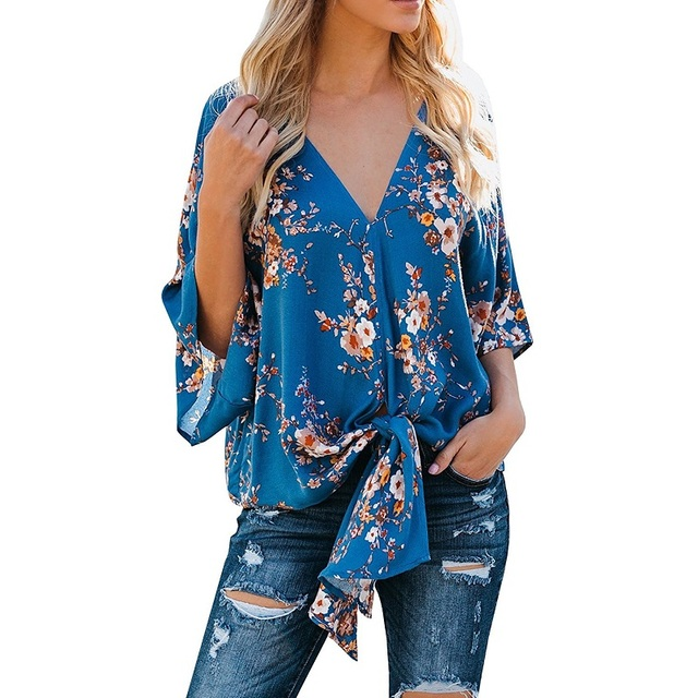 303012e8038245 Womens Summer Fresh 3 4 Sleeve Chiffon Blouses Floral Printed Deep V Neck  Tie Front Blouse Tops