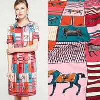 2019 new cute fun circus advanced digital printing polyester fabric for dress shirt DIY fabric spring and summer fashion cloth