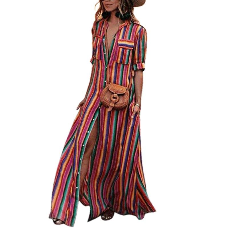 Tangada летнее платье длинное платье платье в полоску полосатое платье платье рубашка платье миди платье ниже колена платье на пуговках цветно...