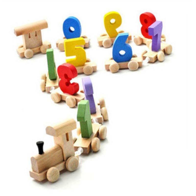 Freies verschiffen Frühe pädagogische spielzeug holz Math Digital Anzahl Zug 9 Anzahl Pädagogisches Spielzeug Kleinkinder Brinquedos Educativo
