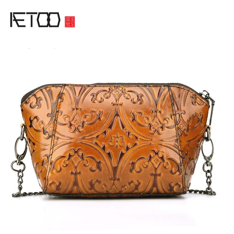 AETOO Mini Leather Satchel Vintage Women Bags Messenger Genuine Female Embossed Flower Small Shoulder все цены