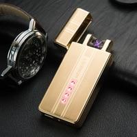 Windproof USB Electric Flameless Lighter Rechargeable Zinc Alloy Plasma Electric X Double Arc Cigarette Lighter Gadgets