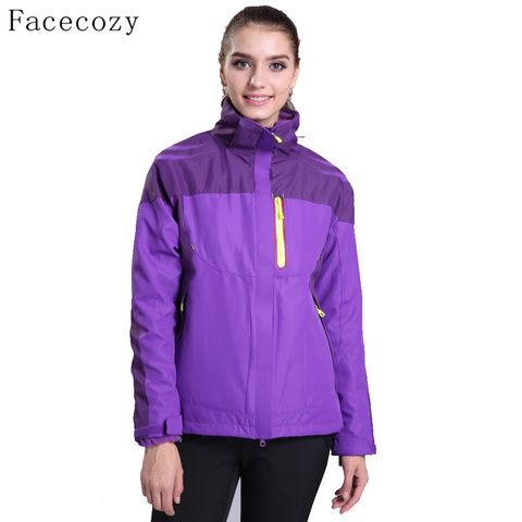 Facecozy Women Outdoor Hiking SoftShell jackets Winter Hooded Thermas Camping Jackets Female Windproof Climbing Coat 2 Pieces Karachi