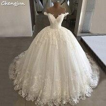 d4f2aa552 Chengjun الفاخرة رخيصة النساء V الرقبة الباكستانية أنيقة الأبيض الكرة ثوب  الزفاف فساتين