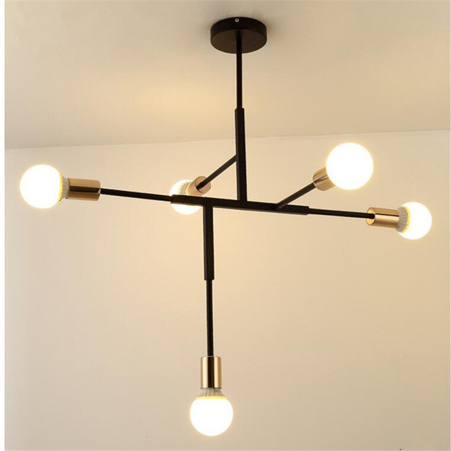 Nordic modern fashion gold plated chandelier for cafe bedroom bar nordic modern fashion gold plated chandelier for cafe bedroom bar creative multi rod 5 arms e27 aloadofball Image collections