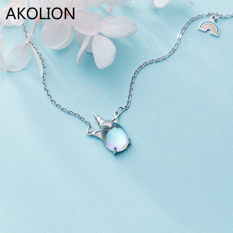 Wholesale Silver Rainbow Unicorn Pendant Necklace 925 Lucky Moonstone Chain Necklce For Girl Women Fashion Jewelry