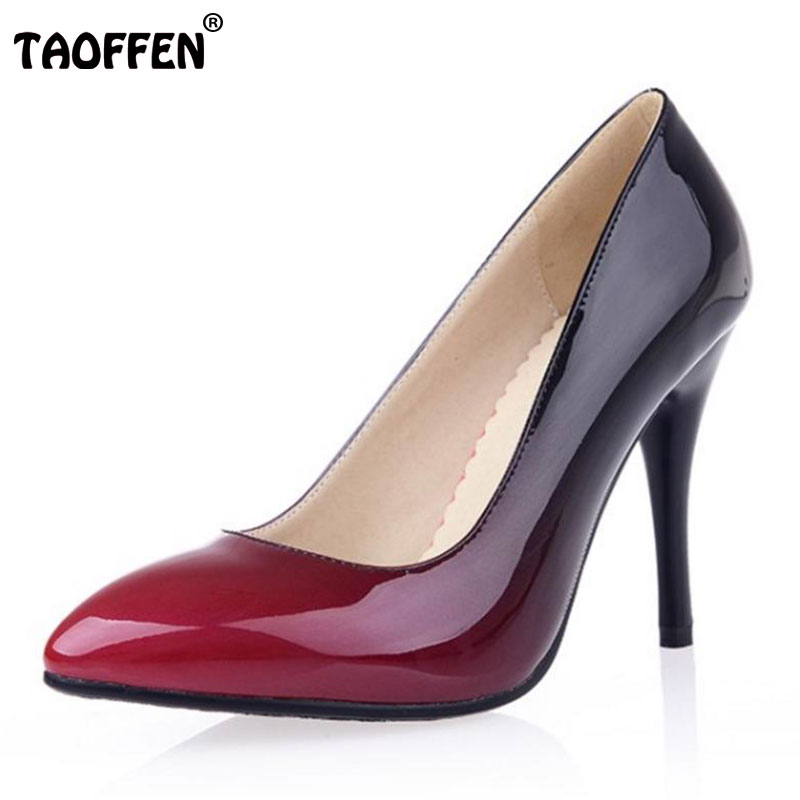TAOFFEN women stiletto high heel shoes patent leather lady sexy spring female heeled pumps heels shoes big size 32-44 P16839 new design 2016 patent leather pumps womens mixcolor stiletto high heel prom party pumps big size 43 lady shoes genuine leather