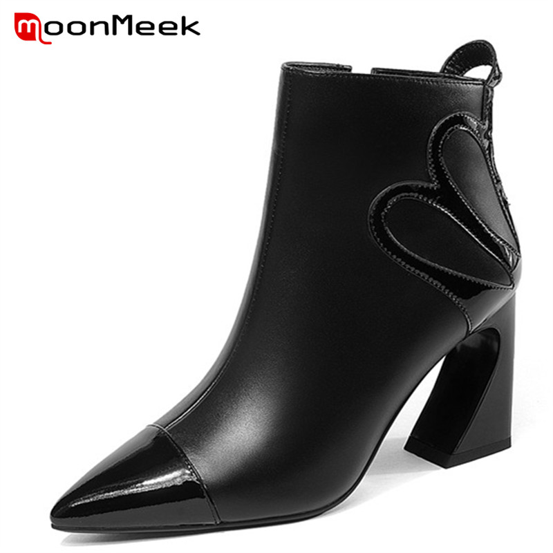 купить MoonMeek 2018 NEW pointed toe autumn winter ladies boots high quality ankle boots classic super high heel genuine leather boots по цене 4816.84 рублей