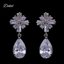 DOKOL Trendy Gota de Água Mulheres Brincos AAA + CZ Pedra Cor Prata Lindo Casamento Jóias Acessórios bijoux DKE0106