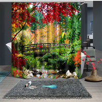 Beautiful Trees Print Chinese Style Waterproof Fabric Bathroom Kitchen 3D Shower Curtains Door Window Curtains