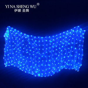 Image 2 - Belly Dance LED Veil 100% Silk 4 Colors Belly Dance Stage Performance Props Belly Dance Accessories LED Silk Veils 5 Sizes 1Pc