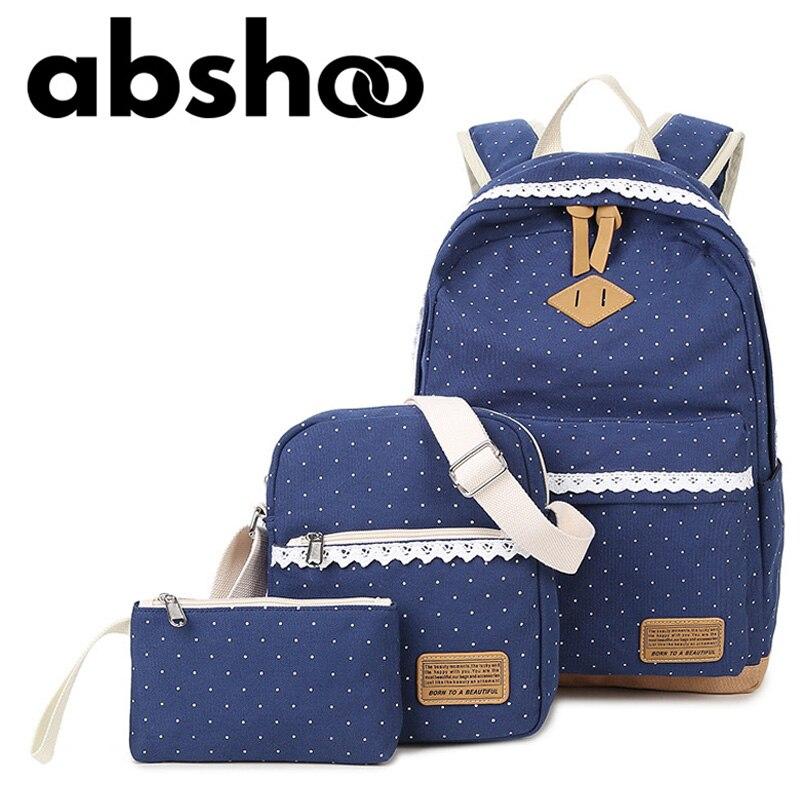 Cute Girl School font b Backpack b font Polka Dot Canvas font b Backpack b font
