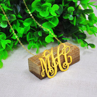 Wholesale 2 Big Monogram Name Necklace Golden Personalized 3 Initial Pendent Statement Hip Hop Jewelry