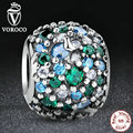 GIFT Beads Fit Pandora Charm Bracelet  Sterling 925 Silver Ocean Mosaic Pave, Mixed Green CZ & Green Crystal Beads S134