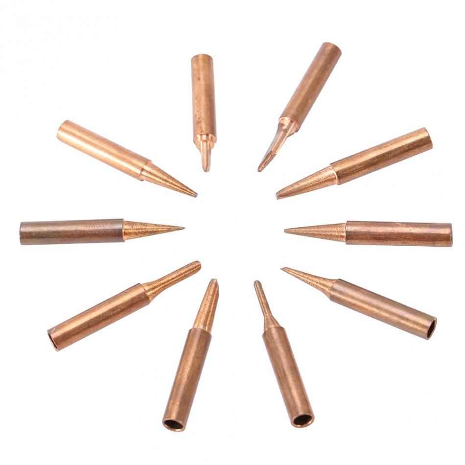10pcs Lead-free Copper 900M-T Iron Solder Tip For 936,937,938,969,8586 Soldering Stations Tips Welding Tips Accessories