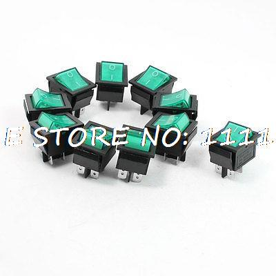 AC 10A 250V/20A 125V Green Neon Lamp 4 Pin DPST ON/OFF Rocker Switch 1
