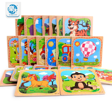 Logwood Wooden 16pcs Cartoon Animal Puzzle Montessori early education toy gifts